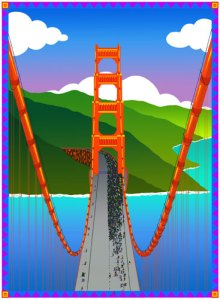 San Francisco Golden Gate Bridge Serigraph by Phil Dynan