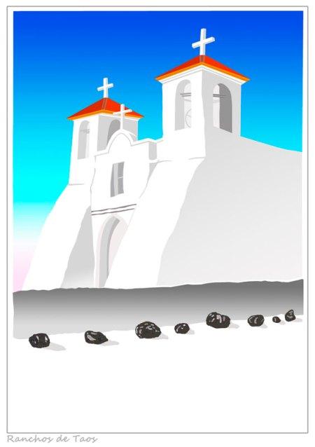 Catholic Church at Ranchos de Taos - serigraph